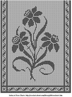 Free filet crochet chart of a table runner with daffodils; also suitable for a door panel. Filet Crochet Charts, Crochet Cross, Crochet Diagram, Thread Crochet, Crochet Stitches, Crochet Table Runner, Crochet Tablecloth, Crochet Doilies, Doily Patterns