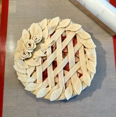 Ginger Pear & Strawberry Bourbon Pie with roses & lattice crust