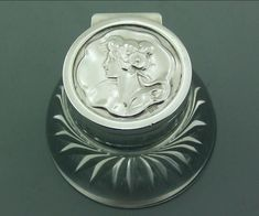 ANTIQUE ART NOUVEAU SOLID SILVER & GLASS INKWELL 1903