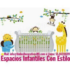 Vinilos infantiles de ramas con Nido Jirafa Leon Elefante