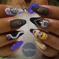 Disney Purple and Black Nails Cartoon Nail Art Disney Acrylic Nails, Disney Nails, Best Acrylic Nails, Maleficent Nails, Nail Art Dessin, Matte Pink Nails, Black Nails, Matte Gel, Disney Inspired Nails