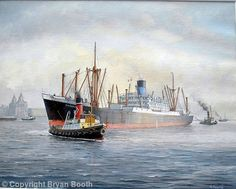 MV Dardanus in the Mersey by Bryan Booth. Built '40 by Burmeister & Wain at Copenhagen. Laid down as the Glengarry for Glen Line, she was seized by the Germans when Denmark was invaded Recovered by the British on 04/05/45 & renamed Empire Humber, '46 released back to Glen Line & renamed Glengarry. Transferred to Blue Funnel in '70 and renamed Dardanus but reverted back to Glen and Glengarry in '71 & scrapped in Japan.