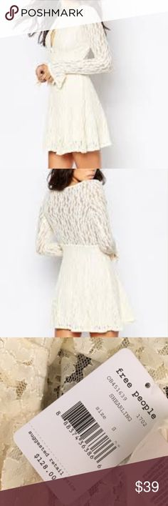 NWTs Free People Lace Vintage Dress New With tags a long sleeved dress made from cream coloured Lace.  Special enough to wear for all occasions including a low key wedding! Free People Dresses Long Sleeve