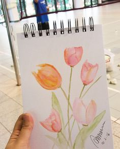 How many travelling notebooks do you have? I have them; yes a few of them mostly in A5 as I need them to fit into my bag :) So here's me practising on my watercoloring skill!