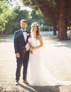 Bride and groom at their rustic California barn wedding
