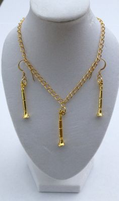 Clarinet earring and necklace set by Cre8iveCraft on Etsy, $10.00
