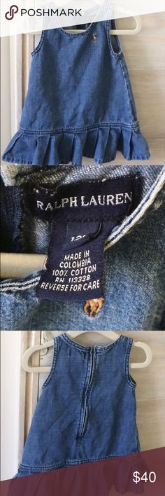 Ralph Lauren Denim Jumper Girls 12 Months There are some loose threads but overall the item is in great shape. It zips up in the back. It is made in Columbia out of 100% cotton. Machine wash warm. There is a cute pleated ruffle on the bottom. Ralph Lauren Dresses Casual