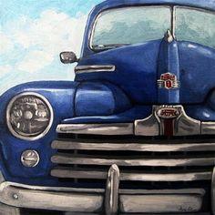 """Vintage Blue Ford Car automobile oil painting"" - Original Fine Art for Sale - © Linda Apple"