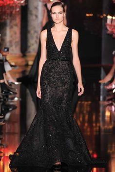 Elie Saab | Fall 2014 Couture | 37 Black belted embellished sleeveless maxi dress with deep V-neck