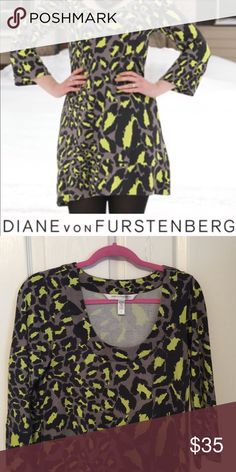 Diane von Furstenberg dress Great DVF animal print dress. 3/4 length sleeves. Great for with leggings in the upcoming cold weather. Hope you enjoy my closet Diane von Furstenberg Dresses Mini