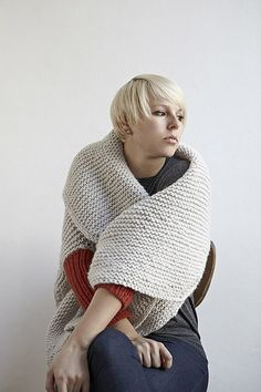 Transform your chunky lamb-y wool into a glamorous garter cardigan. Cast on and knit side to side in easy breezy garter stitch while shaping and I-cord edges form the smooth angles in the fabric. Stick your arms through the ribbed sleeves and cozily settle into your favorite knitting spot. You can also wear this quick knit upside down for a dramatic shawl collar.