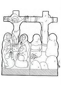 Crucifixion of Jesus craft Jesus Crafts, Bible Story Crafts, Catholic Crafts, Bible Crafts For Kids, Catholic Kids, Church Crafts, Kids Church, Church Activities, Bible Activities