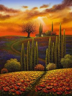 """Sanctuary in Italia     Artist   Myung """"Mario"""" Jung      Subject   landscape     Medium   Oil on Canvas     Category   Painting     Dimensions   H 40in x W 30in"""