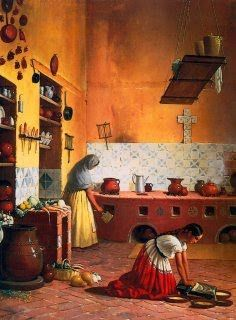 Cocina poblana , oil painted in the century by Edouard Pingret. Mexican Artwork, Mexican Paintings, Mexican Folk Art, Mexican Style Kitchens, Hispanic Art, Latino Art, Mexican Home Decor, Mexican Artists, Chicano Art