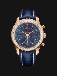 59ed4da51ea Montbrillant 01 watch by Breitling - vintage style rose gold case with  white and blue dial and dark blue crocodile strap