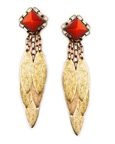 """Bowen Earrings from Nicole Romano.  Glistening leaf-like accents swing from chain wrapped pyramid shaped coral cat's eye stone for a truly mesmerizing pair of earrings.    3"""" length .75"""" width at post Coral cat's eye Post 18K gold plate, Antiqued and hand polished, Light weight, Handcrafted & USA Made™"""