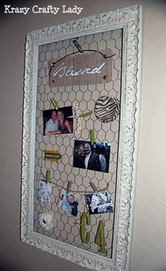 Picture frame redo with chicken wire. I wish there was a decorative chicken wire Wire Picture Frames, Picture Frame Crafts, Picture Frame Decorating Ideas, Picture Frame Display, Chicken Wire Crafts, Chicken Wire Frame, Cadre Photo Diy, Wood Crafts, Diy Crafts