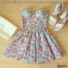 Candy Floral Bustier Dress with Adjustable by SmokyMtnBoutique, $34.95