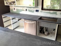 DIY kitchen concrete countertops – after installation but before finishing