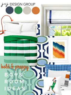 Designers @JenO and @JoGick covered the boys' rooms too with a preppy design theme inspired by their favorite school's colors >> http://blog.hgtv.com/design/2015/06/25/hgtv-design-fix-colorful-kids-room-ideas-from-j-j-designs/?soc=pinterest #HGTVDesignFix