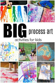 BIG Process Art Activities for Kids – Fantastic Fun & Learning BIGGER is better, right? Okay maybe not always, but going big with art projects can be so much fun for kids. Get kids moving and creating with these amazing process art activities. Art Therapy Activities, Art Activities For Kids, Art For Kids, Young Toddler Activities, Activity Ideas, Kids Fun, Summer Activities, Big Kids, Collaborative Art Projects For Kids