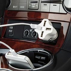 4-Port USB Car Charger — Turn any car outlet into a USB charging station with this 4-Port USB Car Charger with Instasense™ Technology. Instasense™ automatically senses how much power your devices need and adjusts the amount being driven through any one of its four USB ports to provide the fastest charge possible for your devices. Charge your iPad®, mobile phone and eReader all at the same time.