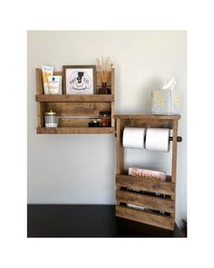 "Rustic/ Industrial bathroom set ***Shelf Beautiful handmade wood bathroom shelf organizer, cosmetics shelf, storage Comes with keyhole hangers and we include the screws and anchors for an easy installation. Shelf Dimensions: L 18x H 15x W 5"" Shelf depth is 3-1/2, height of the first shelf is 6-3/4"