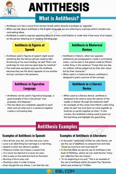 Antithesis Definition & Examples In Speech And Literature - 7 E S L Learn English Grammar, English Vocabulary Words, English Phrases, Learn English Words, Teaching English, English Language, English Help, Teaching Spanish, Language Arts