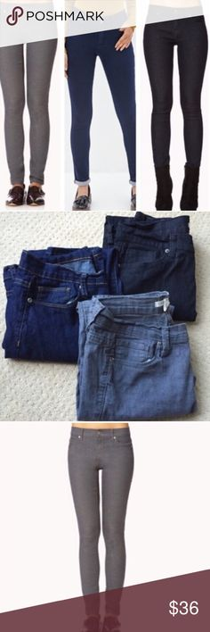 """3 SKINNY JEANS! Gray blue black denim 28/6 long Three (3) pairs of skinny jeans! GRAY, dark BLUE and BLACK! Long length. SZ 28 which is SZ 6.great condition , great deal! In seam is 29""""/30"""" for all. (D6) Forever 21 Jeans Skinny"""