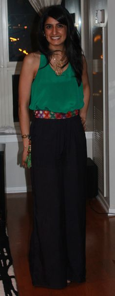 Navy blue, Wide-leg, Indian Inspired Pants.  Designed by Payal Patel.