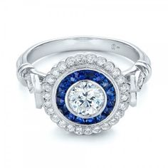 Double Halo Sapphire and Diamond Engagement Ring Joseph Jewelry | Seattle | Bellevue