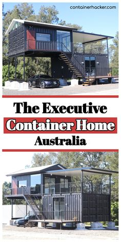 The Executive Container Home - Australia - Living in a Container Cargo Container Homes, Shipping Container House Plans, Building A Container Home, Container Buildings, Container Houses, Shipping Containers, Container Home Designs, Container Homes Australia, Tiny House Cabin