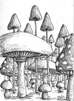 Magic mushroom coloring pages cool trippy mushroom drawings Mushroom Drawing, Mushroom Art, Art Sketches, Art Drawings, Trippy Drawings, Simple Drawings, Arte Grunge, Trippy Mushrooms, Psychedelic Art