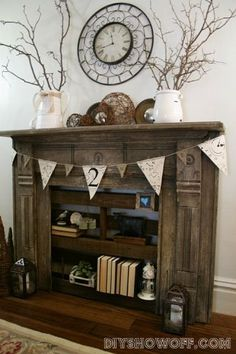 A faux fireplace with pallet shelving.