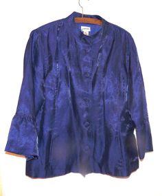 CHICO'S HOLIDAY BLUE  IRIDESCENT DRESSY EVENING  JACKET SZ 2 (M) bell sleeves #CHICOS #EveningJacket