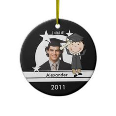 Brunette Boy Graduate Customized Photo Keepsake Christmas Ornaments