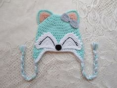 Mint and Peach Colored Fox Crochet Hat  Wildlife Animals