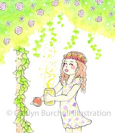 Wishes in a bottle. Art by Caitlyn Burchell Illustration Bottle Art, Watercolor Paintings, To My Daughter, Colour, My Favorite Things, Illustration, Pictures, Color, Photos