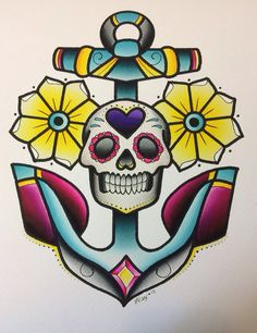 Anchor Skull Print by Alex Strangler