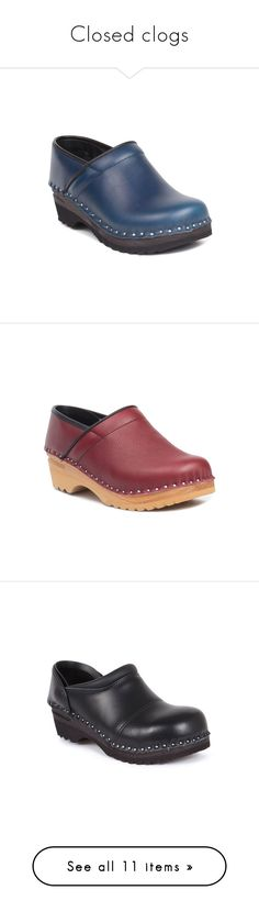 """""""Closed clogs"""" by troentorp ❤ liked on Polyvore featuring shoes, clogs, troentorp shoes, leather clogs, blue leather shoes, troentorp, clogs footwear, leather clog shoes, ruby red shoes and leather shoes"""