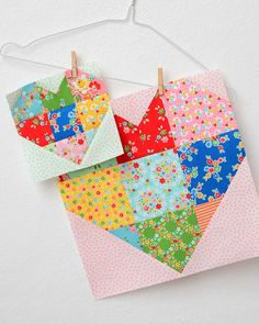 Today is my stop at the Spelling Bee Sew Along with Lori Holt and Fat Quarter Shop and I am showing you the cute scrappy heart blocks! Patchwork, Quilting, Quilt Book, Sew Along, Quilt Along, heart quilt block.
