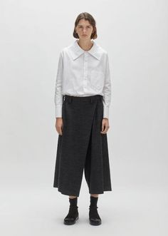 Wool & Cotton Wrap Front Trousers