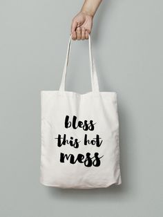 Bless this Hot Mess-Canvas Tote Bag  Graphic Tote by Mybebecadum