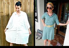 From muumuu to Miu Miu: Turning thrift-store rejects into cute couture (SLIDESHOW) How To Make Clothes, Diy Clothes, Muumuu, Old Shirts, Little Dresses, Piece Of Clothing, Refashion, Thrifting, Crafty Projects