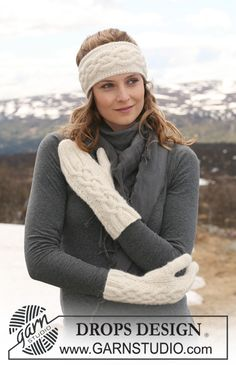 "DROPS 114-4 - DROPS ear warmer and mittens in ""Classic Alpaca"" with cables. - Free pattern by DROPS Design"