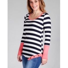 """Heart It"" Striped Top with Button Detail Striped top with a gorgeous pop of color pink accents and diagonal button detail. Brand new without tags. True to size. Bare Anthology Tops"