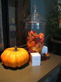 Mini pumpkins in apothecary jar