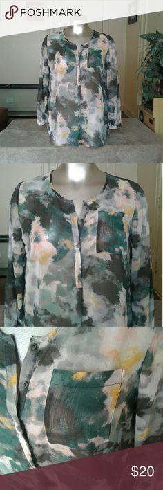 Merona Green Multicolored Beautiful Blouse Blouse Tops Blouses