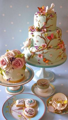 Let them eat cake. and cookies, and cupcakes. Fancy Cakes, Cute Cakes, Pretty Cakes, Gorgeous Cakes, Amazing Cakes, Decoration Patisserie, Spring Cake, Gateaux Cake, Occasion Cakes