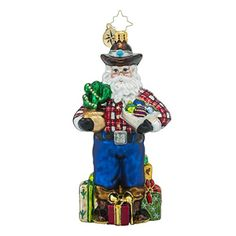 Christopher Radko Holiday Hoedown Western Themed Santa Glass Christmas Ornament